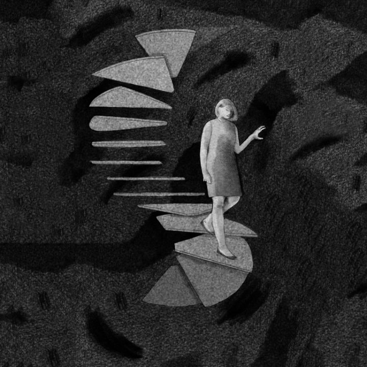 fearful woman on dark staircase